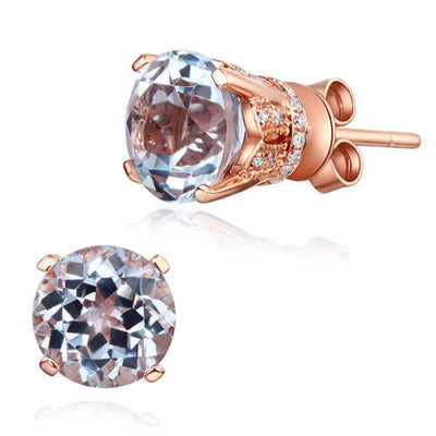 Vintage Style 14K Rose Gold Stud Clear Topaz Earrings Natural 0.12 Ct Diamonds - diamondiiz.com