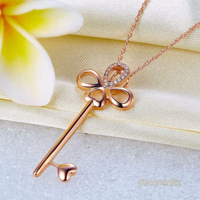 Fine 14K Rose Gold Heart Key Pendant Necklace Jewelry - diamondiiz.com