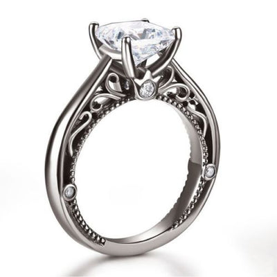 Vintage Art Deco Anniversary Ring Black 925 Silver Man Made Diamond - diamondiiz.com