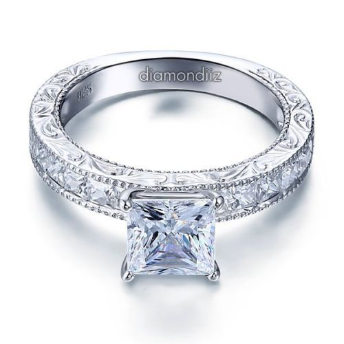 princess lab diamond engagement ring vintage style 925 sterling silver - Sterling Silver Diamond Wedding Rings