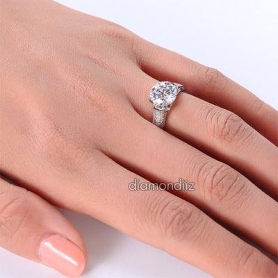 Vintage Style Sterling 925 Silver Bridal Ring 2 Carat Round Lab Created Diamond - diamondiiz.com