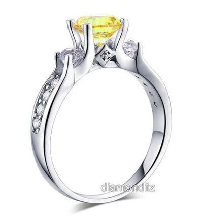 925 Sterling Silver Anniversary Ring Yellow Canary Lab Created Diamond
