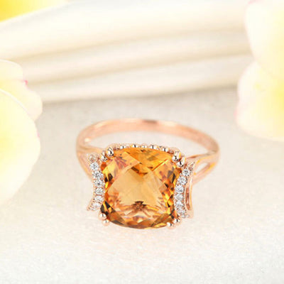 Fine 14K Rose Gold Luxury Anniversary Ring 6 Ct Cushion Yellow Citrine Diamond - diamondiiz.com