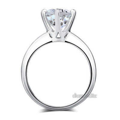 14K White Gold Bridal Wedding Engagement Solitaire Ring 2 Ct Topaz  6 Claws - diamondiiz.com