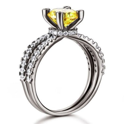 Black 925 Sterling Silver Engagement Anniversary Ring Yellow Lab Made Diamond - diamondiiz.com