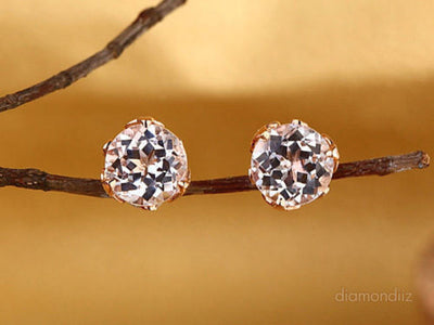 Vintage Style 14K Rose Gold Stud 2.5 Ct Topaz Earrings Natural 0.24 Ct Diamonds - diamondiiz.com