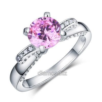 925 Sterling Silver Engagement Ring 2 Ct Elegant Fancy Pink Lab Created Diamond - diamondiiz.com