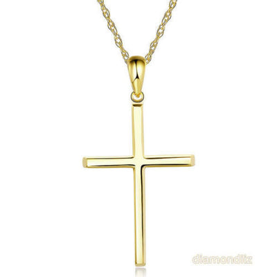 Fine 14K Yellow Gold Plain Cross Pendant Necklace Jewelry - diamondiiz.com