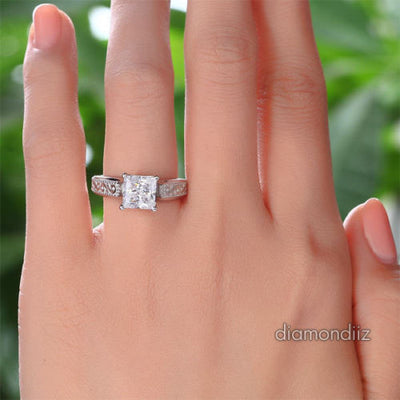 Vintage Sterling 925 Silver Bridal Ring 1.5 Carat Princess Lab Created Diamond - diamondiiz.com