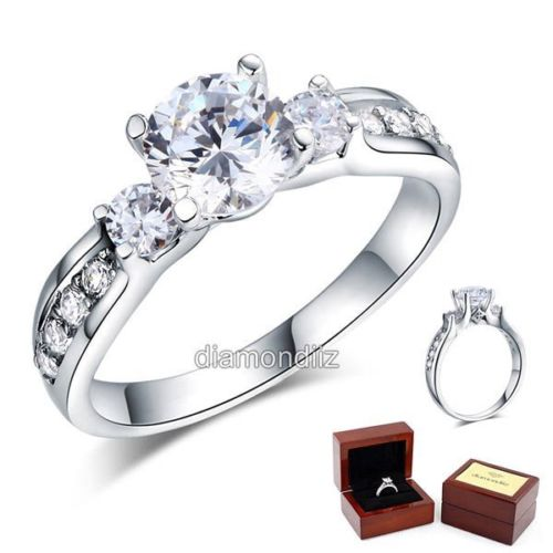 925 sterling silver wedding engagement ring brilliant 125 ct lab create diamond - Sterling Silver Wedding Rings