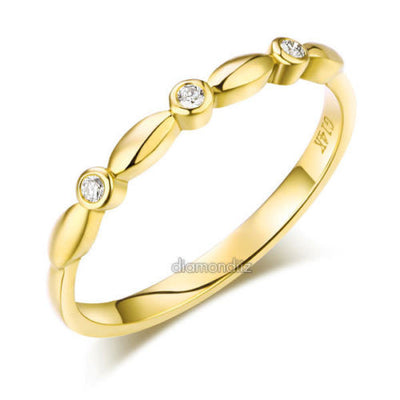 14K Solid Yellow Gold Wedding Band Stackable Ring 0.03 Ct Diamond - diamondiiz.com