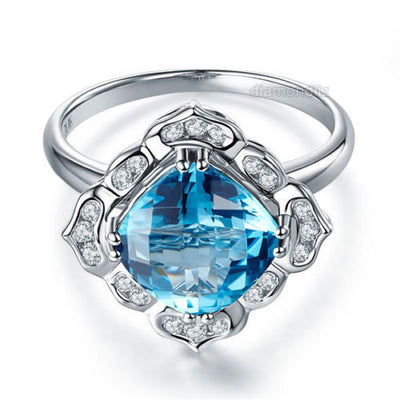 Art Deco 14K White Gold Wedding Anniversary Ring 3 Ct Swiss Blue Topaz Diamond - diamondiiz.com