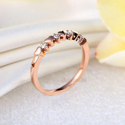 Women Heart 14K Rose Gold Bridal Wedding Band Ring 0.11 Ct Natural Diamonds - diamondiiz.com