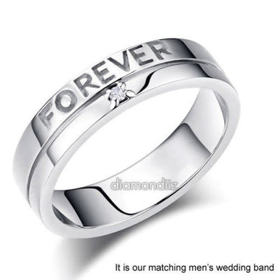 Matching 14K White Gold Love Women Wedding Band Ring 0.12 Ct Diamonds - diamondiiz.com