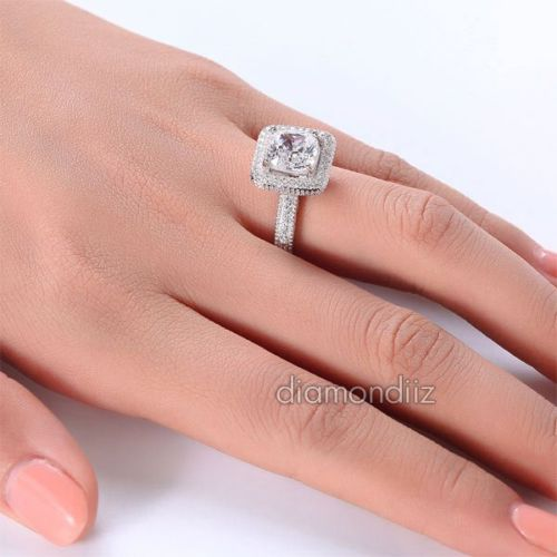 Cushion Cut Created Diamond Engagement Ring Finger Vintage 925 Silver