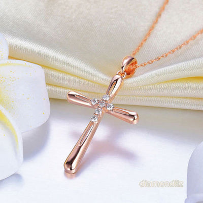 14K Rose Gold Cross Pendant Necklace 0.13 Ct Diamonds - diamondiiz.com