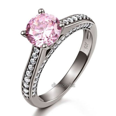 Cathedral Ring Black 925 Sterling Silver Fancy Pink Created Diamond - diamondiiz.com