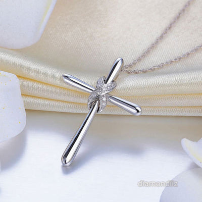 14K White Gold Cross Pendant Necklace 0.04 Ct Diamonds - diamondiiz.com