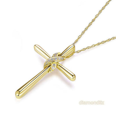 14K Yellow Gold Cross Pendant Necklace 0.04 Ct Diamonds - diamondiiz.com
