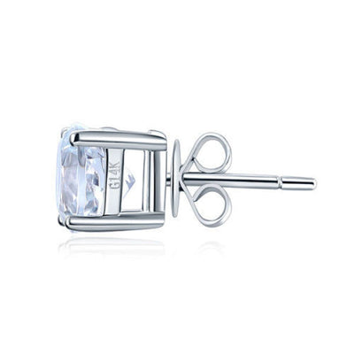 Solid 14K White Gold Stud Natural Clear Topaz Earrings - diamondiiz.com