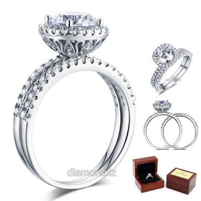 925 Sterling Silver Wedding Engagement Halo Ring Set 2 Carat Lab Created Diamond - diamondiiz.com