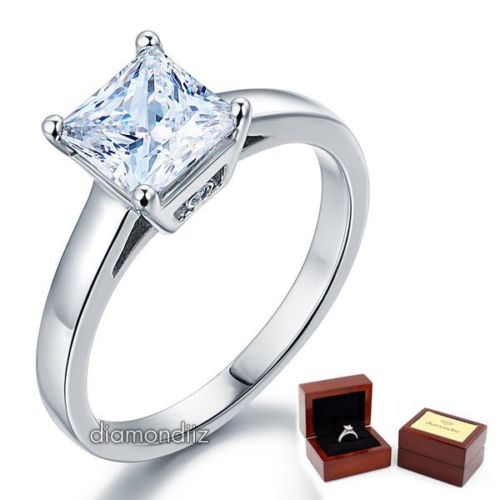 Silver Princess Solitaire Ring Engagement 925 Hallmark