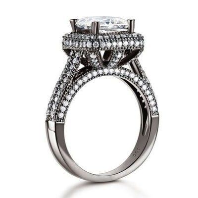 Luxury Vintage Engagement Anniversary Ring Black 925 Silver Lab Created Diamond - diamondiiz.com
