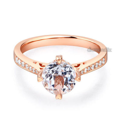 14K Rose Gold Vintage Wedding Engagement Ring 1.2 CT Topaz & Natural Diamonds