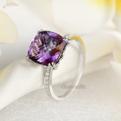 14K White Gold Engagement / Anniversary Ring Purple Cushion Amethyst Diamond - diamondiiz.com