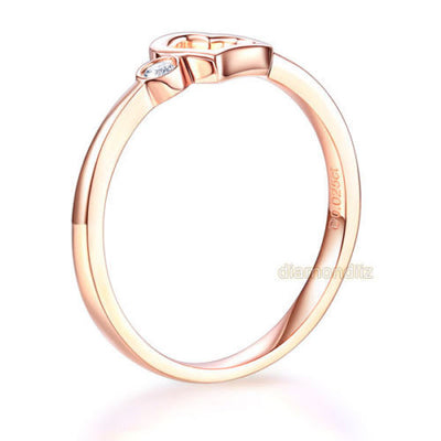 14K Rose Gold Wedding Band Anniversary Heart Bridal Ring 0.02 Ct Diamond - diamondiiz.com