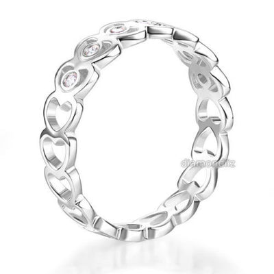 Solid 14K White Gold Heart Wedding Band Women Ring 0.07 Ct Diamond Fine Jewelry - diamondiiz.com