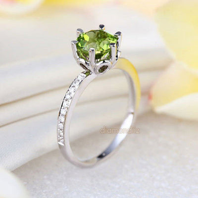 14K White Gold Wedding Engagement Ring 1.4 Ct Peridot 0.14 Ct Natural Diamonds - diamondiiz.com