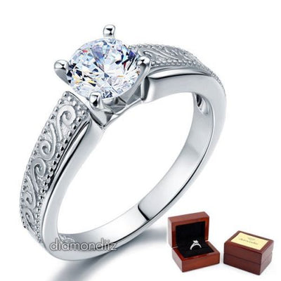 Vintage Style Sterling Silver Wedding Engagement Ring 1 Ct Lab Created Diamond - diamondiiz.com