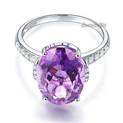 14K White Gold Luxury Ring 5.75 Ct Oval Purple Amethyst  0.22 Ct Natural Diamond - diamondiiz.com