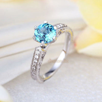 14K White Gold Vintage Wedding Engagement Ring Swiss Blue Topaz Natural Diamond - diamondiiz.com