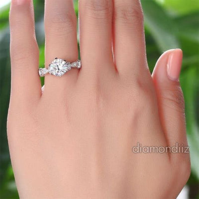 Lab Created Diamond Vintage Engagement Ring 925 Sterling Silver - diamondiiz.com