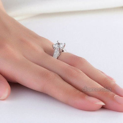 925 Sterling Silver Wedding Engagement Ring Princess Cut 1.5 Carat Lab Diamond - diamondiiz.com