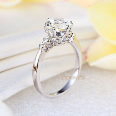 14K White Gold Wedding Engagement Ring 2 CT Topaz 0.038 CT Natural Diamonds - diamondiiz.com