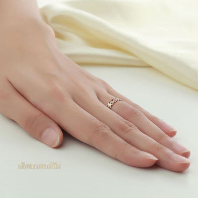 14K Rose Gold Heart Wedding Band Women Ring 0.07 Ct Diamond 585 Fine Jewelry - diamondiiz.com