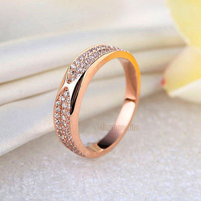 14K Rose Gold Bridal Wedding Anniversary Band Ring 0.31 Ct Natural Diamonds - diamondiiz.com