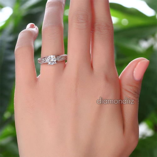 Vintage Style Sterling Silver Wedding Engagement Ring 1 Ct Lab