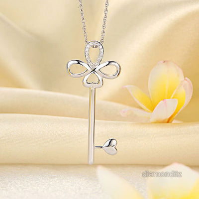 Fine 14K White Gold Heart Key Pendant Necklace 0.1 Carat Diamonds - diamondiiz.com