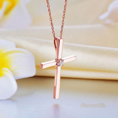 14K Rose Gold Cross Pendant Necklace 0.08 Ct Diamonds - diamondiiz.com