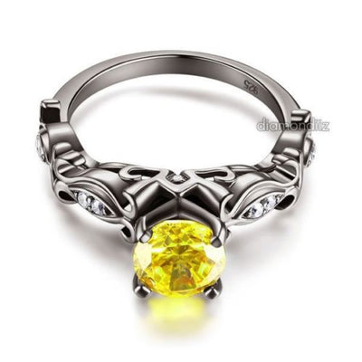 Black 925 Silver Engagement Anniversary Ring Vintage Yellow Lab Created Diamond - diamondiiz.com