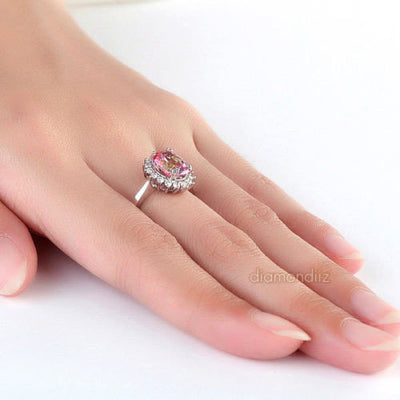 Princess Diana Inspired Ring 2.8 Ct Pink Topaz with Diamond Halo - diamondiiz.com