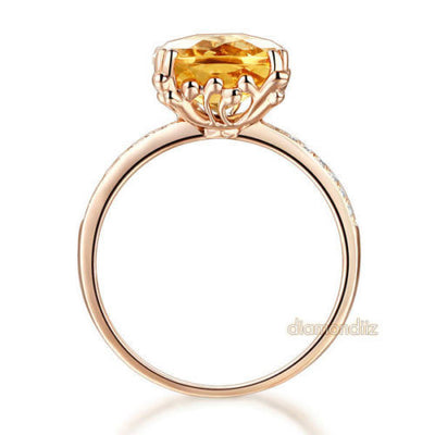 14K Rose Gold Luxury Wedding Anniversary Ring Yellow 3.6 Cushion Citrine Diamond - diamondiiz.com