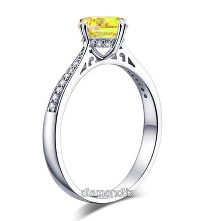 925 Sterling Silver Engagement Ring Vintage 1.25 Ct Yellow Canary Lab Diamond - diamondiiz.com