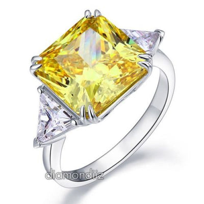Sterling 925 Silver Ring 8 Carat Princess Yellow Canary Lab Created Diamond - diamondiiz.com