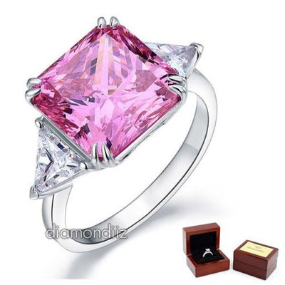 925 Sterling Silver Luxury Ring 8 Ct Princess Pink Lab Created Diamond - diamondiiz.com