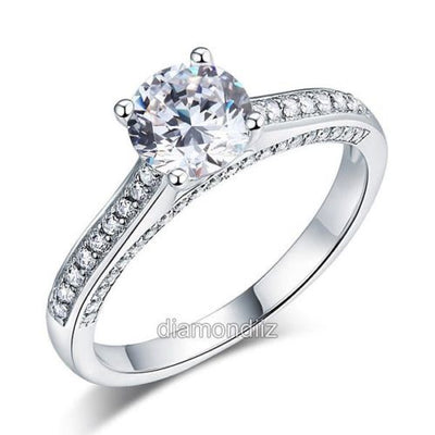 Engagement Cathedral Ring 925 Sterling Silver Wedding Created Diamond - diamondiiz.com